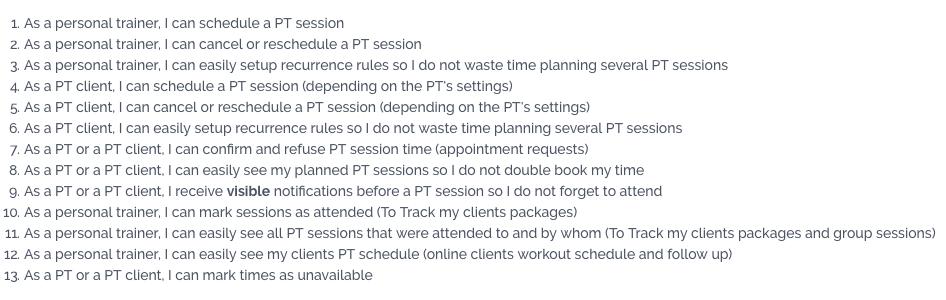 Personal Trainer Tools: Pros and Cons of your scheduling system - Requirements