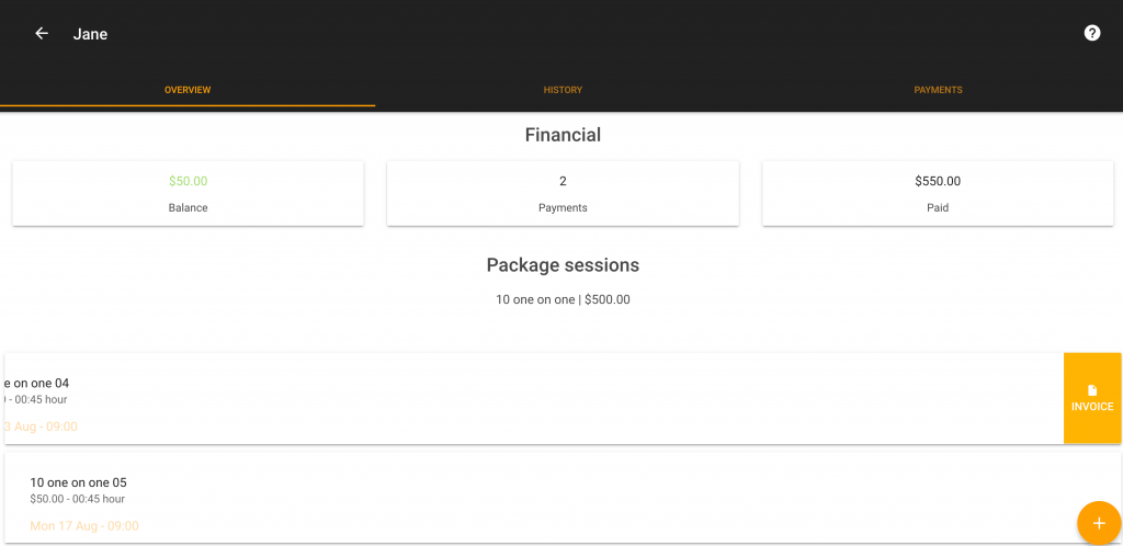 Personal Trainer Software: Generate an invoice