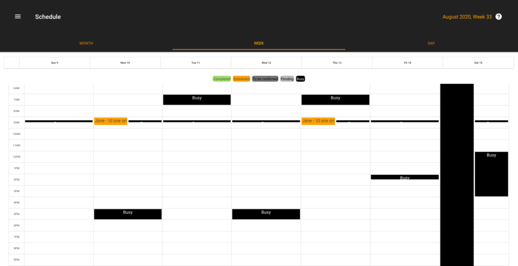 Personal Trainer scheduling App: PT is busy